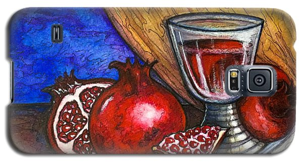 Galaxy S5 Case featuring the painting Still Life With Pomegranate And Goblet 1 by Rae Chichilnitsky