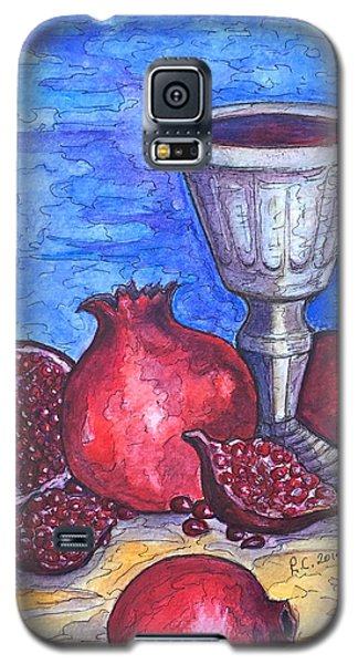 Galaxy S5 Case featuring the painting Still Life With Pomegranate And Goblet 2 by Rae Chichilnitsky