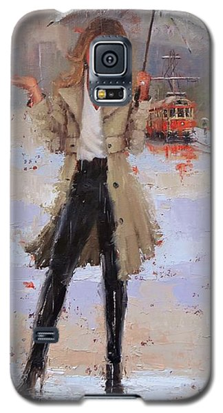 Galaxy S5 Case featuring the painting Still Raining by Laura Lee Zanghetti
