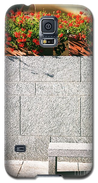 Galaxy S5 Case featuring the photograph Stone Bench With Flowers by Silvia Ganora