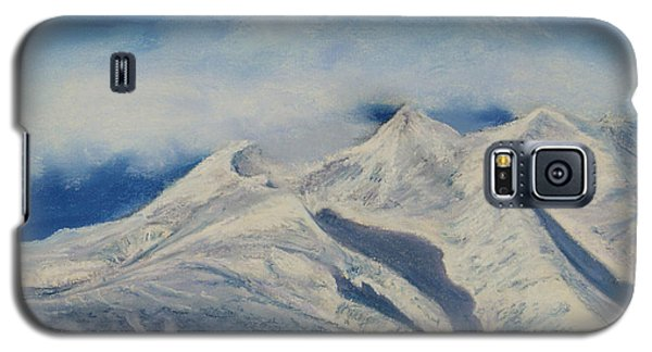 Galaxy S5 Case featuring the painting Storm Clouds Over Winter Mountain Blues by Stanza Widen