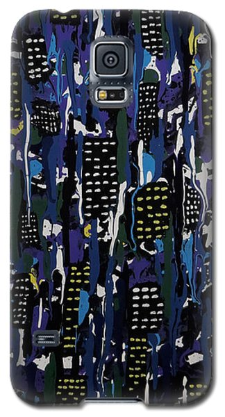 Galaxy S5 Case featuring the painting Stormy Night In The City by Teresa Wing