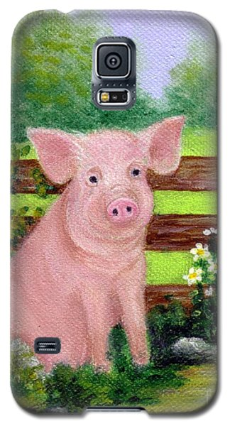 Galaxy S5 Case featuring the painting Storybook Pig by Sandra Estes