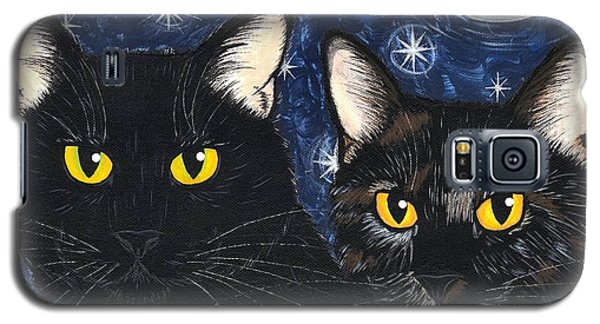Galaxy S5 Case featuring the painting Strangeling's Felines - Black Cat Tortie Cat by Carrie Hawks