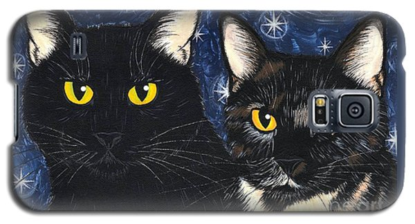 Strangeling's Felines - Black Cat Tortie Cat Galaxy S5 Case by Carrie Hawks