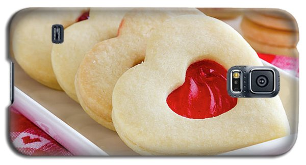 Galaxy S5 Case featuring the photograph Strawberry Jam Filled Heart Cookies by Teri Virbickis