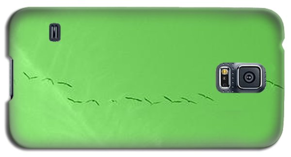 String Of Birds In Green Galaxy S5 Case