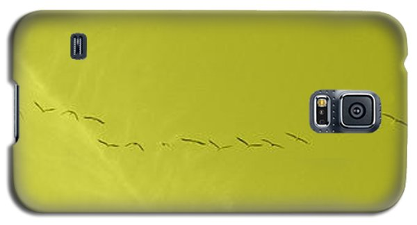 String Of Birds In Yellow Galaxy S5 Case