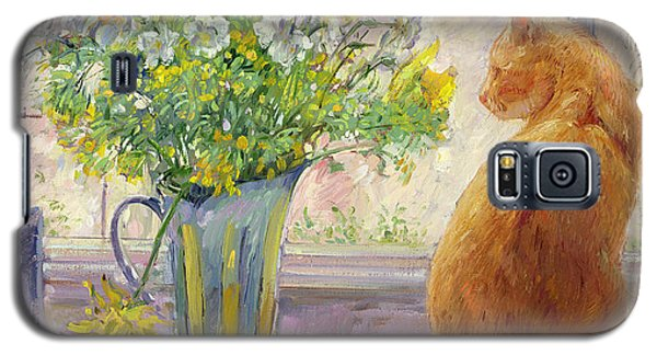 Striped Jug With Spring Flowers Galaxy S5 Case by Timothy Easton