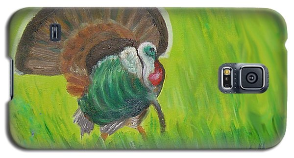 Galaxy S5 Case featuring the painting Strutting Turkey In The Grass by Margaret Harmon
