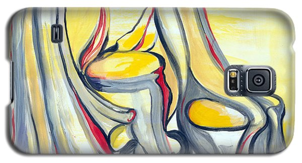 Galaxy S5 Case featuring the painting Study In Grey With Yellow And Red by Nadine Dennis