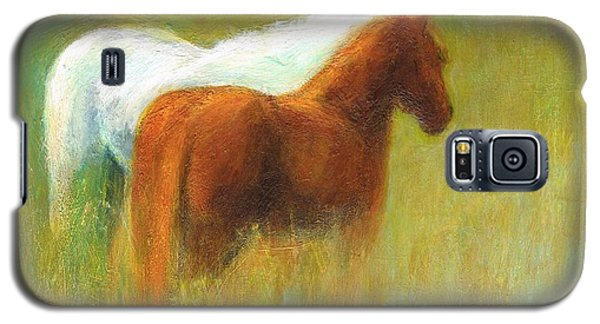 Galaxy S5 Case featuring the painting Study Of Two Ponies by Frances Marino