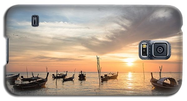 Stunning Sunset Over Wooden Boats In Koh Lanta In Thailand Galaxy S5 Case
