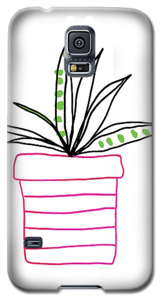 Galaxy S5 Case featuring the mixed media Succulent In A Pink Pot- Art By Linda Woods by Linda Woods