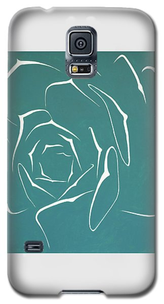 Galaxy S5 Case featuring the painting Succulent In Turquoise by Ben Gertsberg