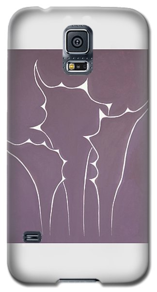 Galaxy S5 Case featuring the painting Succulent In Violet by Ben Gertsberg