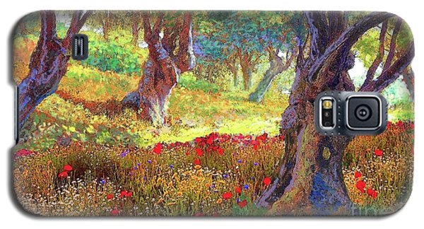 Galaxy S5 Case featuring the painting Tranquil Grove Of Poppies And Olive Trees by Jane Small