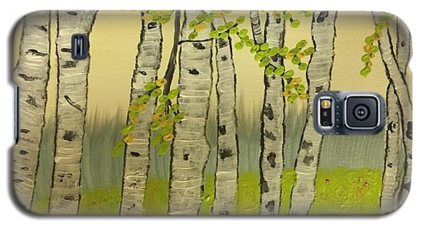 Galaxy S5 Case featuring the painting Summer Birches by Paula Brown