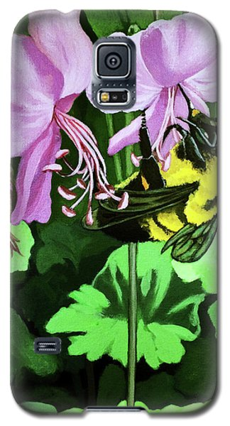 Galaxy S5 Case featuring the painting Summer Garden Bumblebee And Flowers Nature Painting by Linda Apple