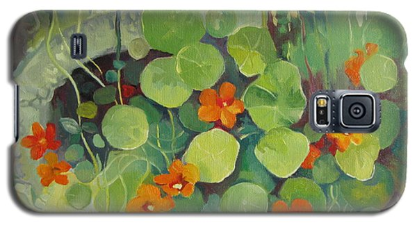 Galaxy S5 Case featuring the painting Summer In The Garden by Elena Oleniuc