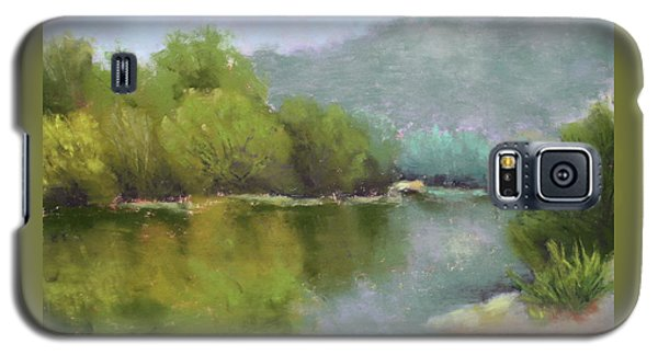 Galaxy S5 Case featuring the painting Summer On The River by Nancy Jolley