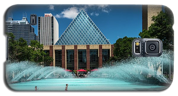 Galaxy S5 Case featuring the photograph Summer Splash Downtown Edmonton by Darcy Michaelchuk