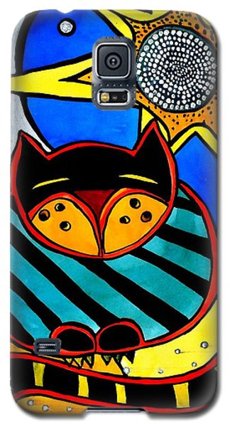 Galaxy S5 Case featuring the painting Sun And Moon - Honourable Cat - Art By Dora Hathazi Mendes by Dora Hathazi Mendes