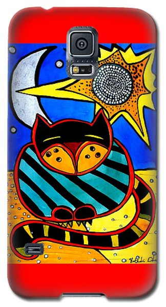 Sun And Moon - Honourable Cat - Art By Dora Hathazi Mendes Galaxy S5 Case by Dora Hathazi Mendes