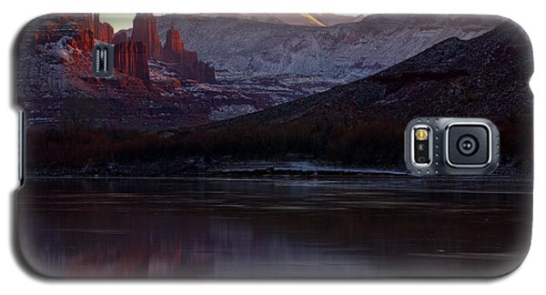 Galaxy S5 Case featuring the photograph Sun Down At Fisher Towers by Adam Jewell