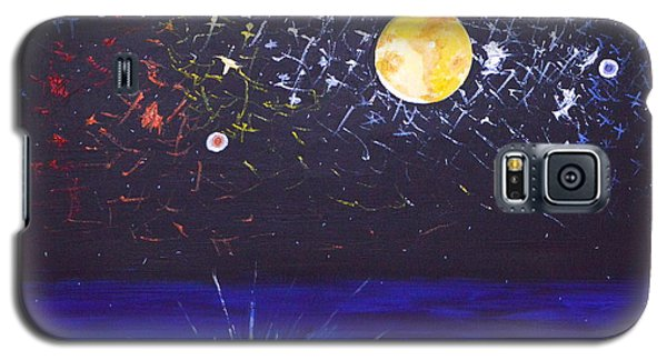 Galaxy S5 Case featuring the painting Sun Moon And Stars by Donna Blossom