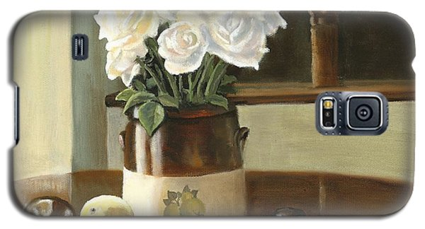 Galaxy S5 Case featuring the painting Sunday Morning And Roses - Study by Marlene Book