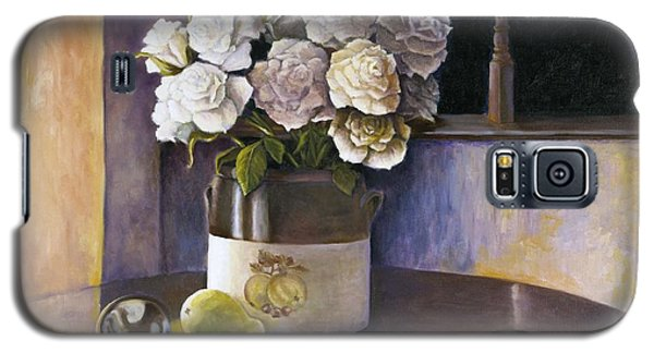 Galaxy S5 Case featuring the painting Sunday Morning And Roses Redux by Marlene Book
