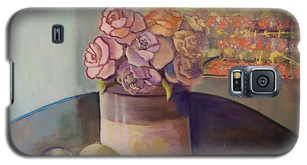 Galaxy S5 Case featuring the painting Sunday Morning Roses Through The Looking Glass by Marlene Book