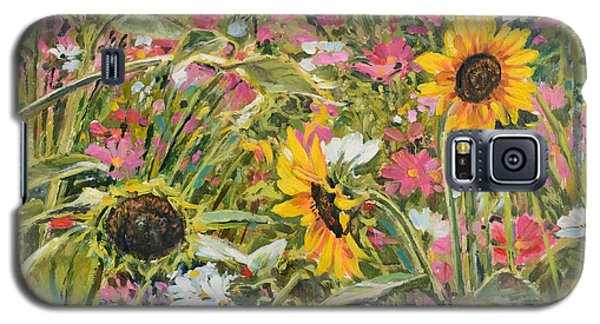 Galaxy S5 Case featuring the painting Sunflower And Cosmos by Steve Spencer