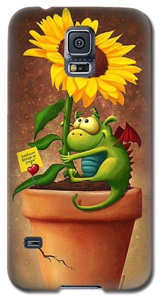 Dragon Galaxy S5 Case - Sunflower And Dragon by Tooshtoosh
