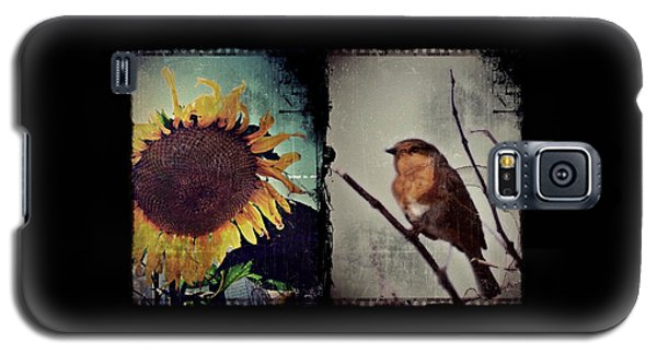 Sunflower Bird Diptych Galaxy S5 Case by Patricia Strand