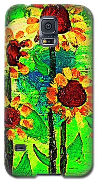 Galaxy S5 Case featuring the painting Sunflower Closeup by Angela Annas