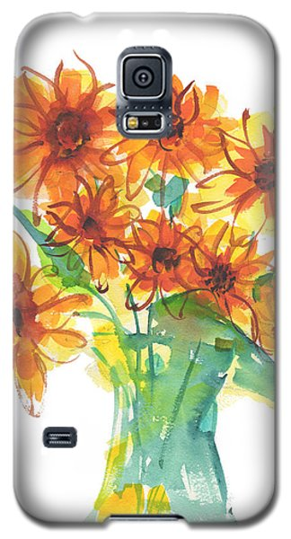 Sunflower Medley II Watercolor Painting By Kmcelwaine Galaxy S5 Case