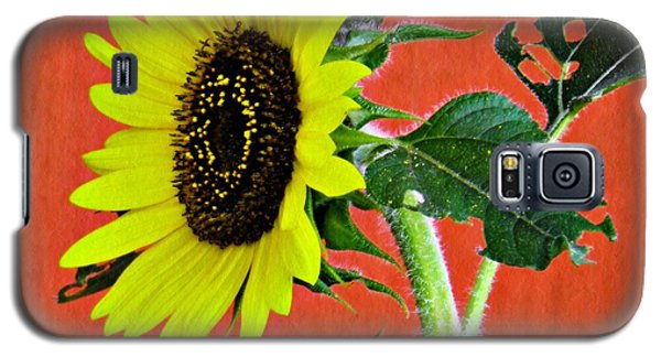 Galaxy S5 Case featuring the photograph Sunflower On Red 2 by Sarah Loft
