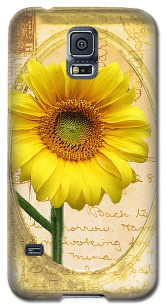 Sunflower On Vintage Postcard Galaxy S5 Case by Nina Silver