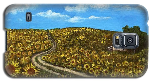 Galaxy S5 Case featuring the painting Sunflower Road by Anastasiya Malakhova