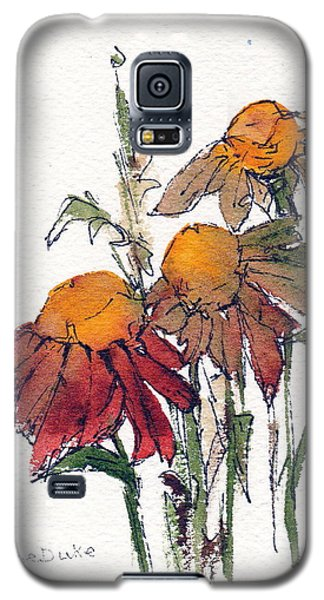 Galaxy S5 Case featuring the painting Sunflower Trio #1 by Anne Duke