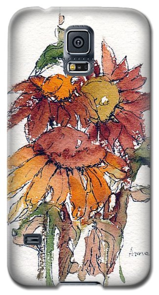Galaxy S5 Case featuring the painting Sunflower Trio #2 by Anne Duke