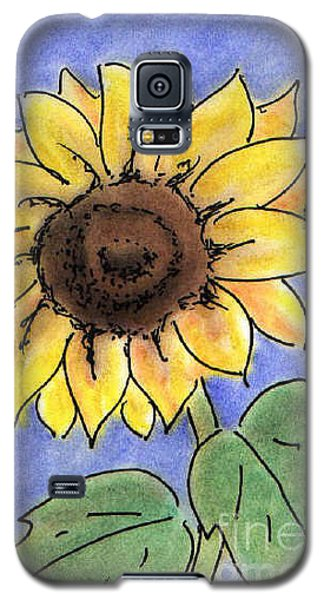 Galaxy S5 Case featuring the drawing Sunflower by Vonda Lawson-Rosa