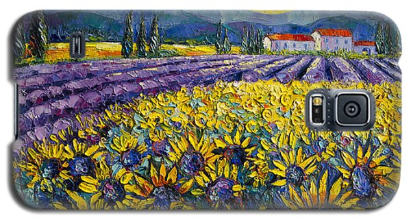 Sunflowers And Lavender Field - The Colors Of Provence Modern Impressionist Palette Knife Painting Galaxy S5 Case