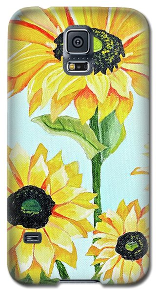 Galaxy S5 Case featuring the painting Sunflowers  by Donna Blossom