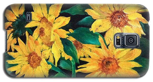 Galaxy S5 Case featuring the painting Sunflowers by Ellen Canfield