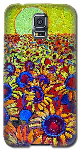 Sunflowers Field At Sunrise Galaxy S5 Case