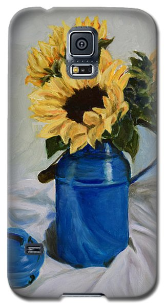Galaxy S5 Case featuring the painting Sunflowers In Milkcan by Sandra Nardone