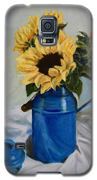 Sunflowers In Milkcan Galaxy S5 Case by Sandra Nardone
